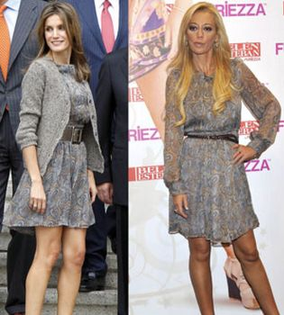 Foto: Belén Esteban le 'copia' el vestido a la princesa Letizia