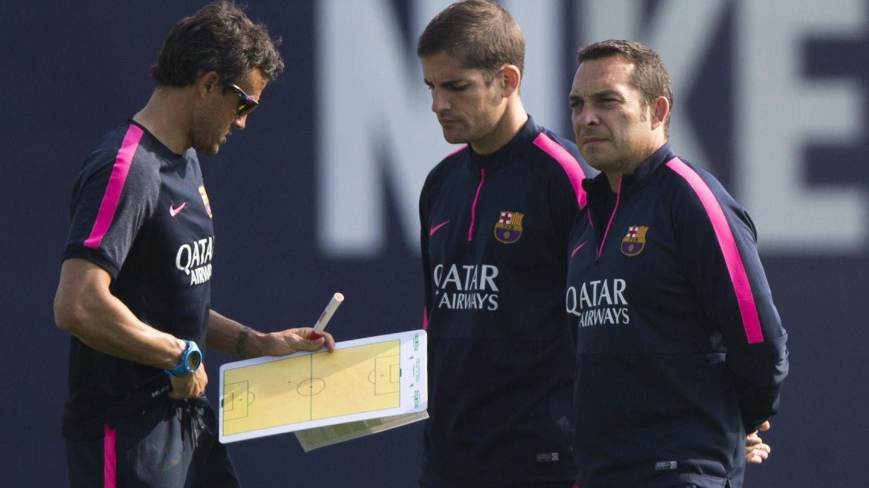 Luis Enrique y Robert Moreno, en un entrenamiento del Barcelona. (EFE)