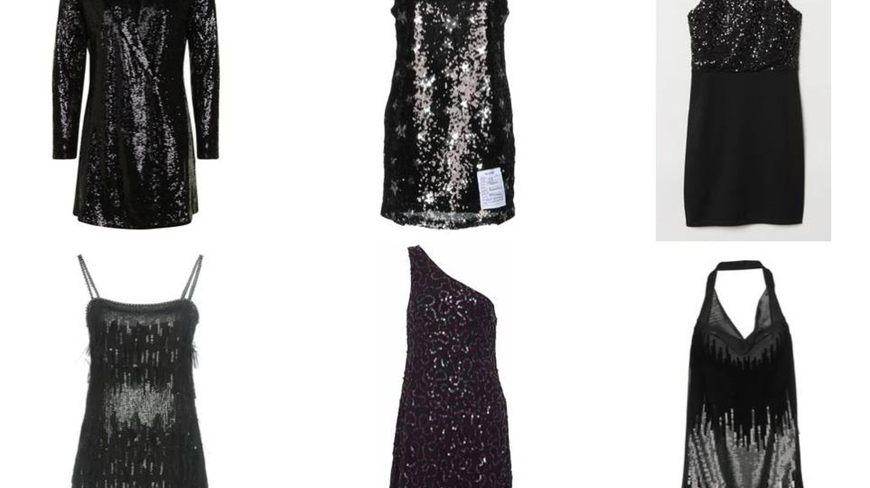 Seis vestidos con mucho en común: mini, negro y lentejuelas.