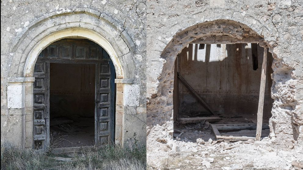Una banda de ladrones arranca un pórtico del siglo XI en una iglesia de Soria