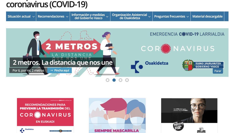 Portal de información sobre el coronavirus del País Vasco