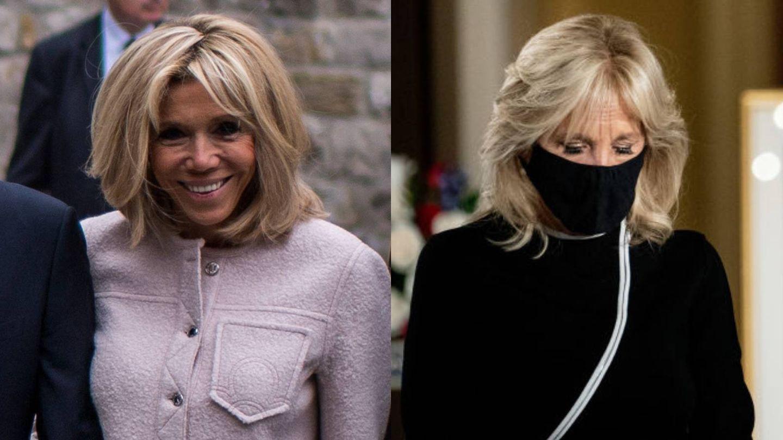 La forma de peinar la raíz de Brigitte Macron y Jill Biden es distinta, pero ambas técnicas buscan ganar volumen. (Getty)