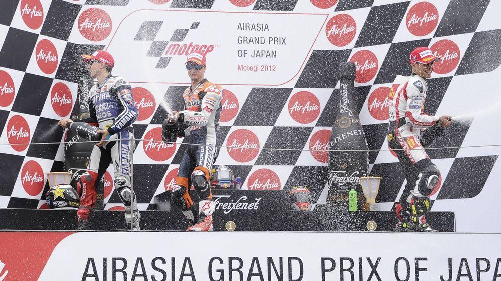 Foto: El podio de GP de Motegi 2012: Dani Pedrosa (1º), Jorge Lorenzo (2º) y Álvaro Bautista (3º). Solo Lorenzo seguirá en la categoría en 2019. (Imago)