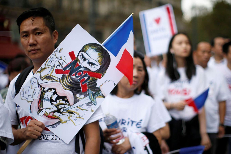 Foto: Protesta de la comunidad china en París tras los recientes ataques, en Francia, el 4 de septiembre de 2016 (Reuters).