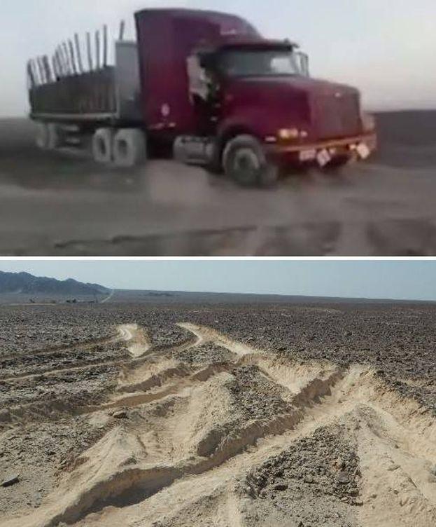Foto: La incursión del camión ha dejado profundos surcos en la zona.