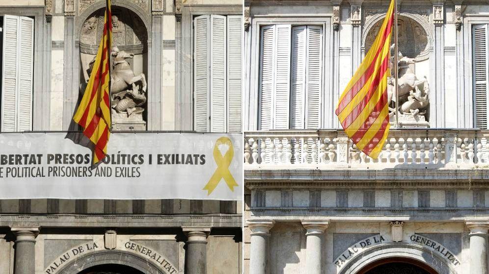 Foto: El Palau de la Generalitat antes y después de la retirada de la pancarta con el lazo amarillo