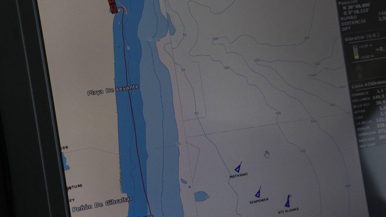 Un detalle de la zona en el radar del barco. (Fernando Ruso)