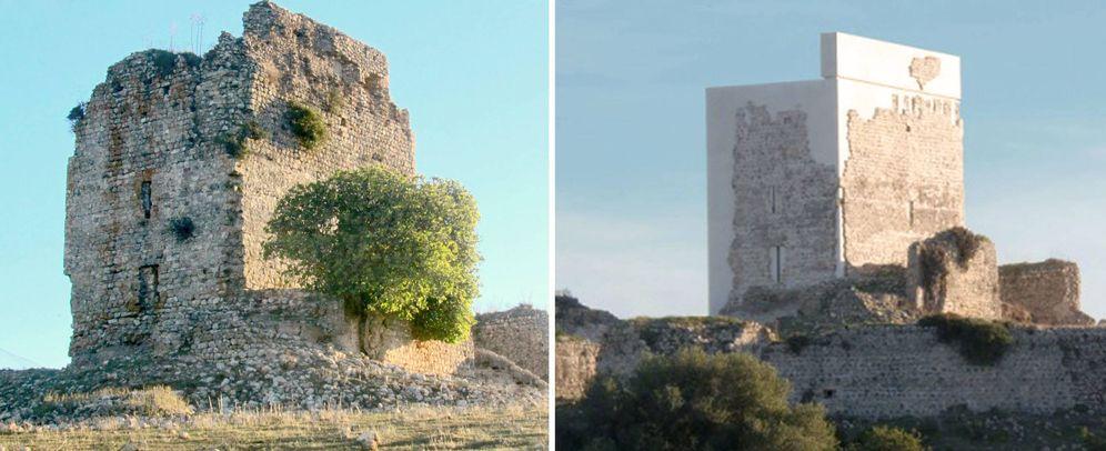 Foto: Castillo de Matrera (Cádiz), antes y después de la polémica restauración.