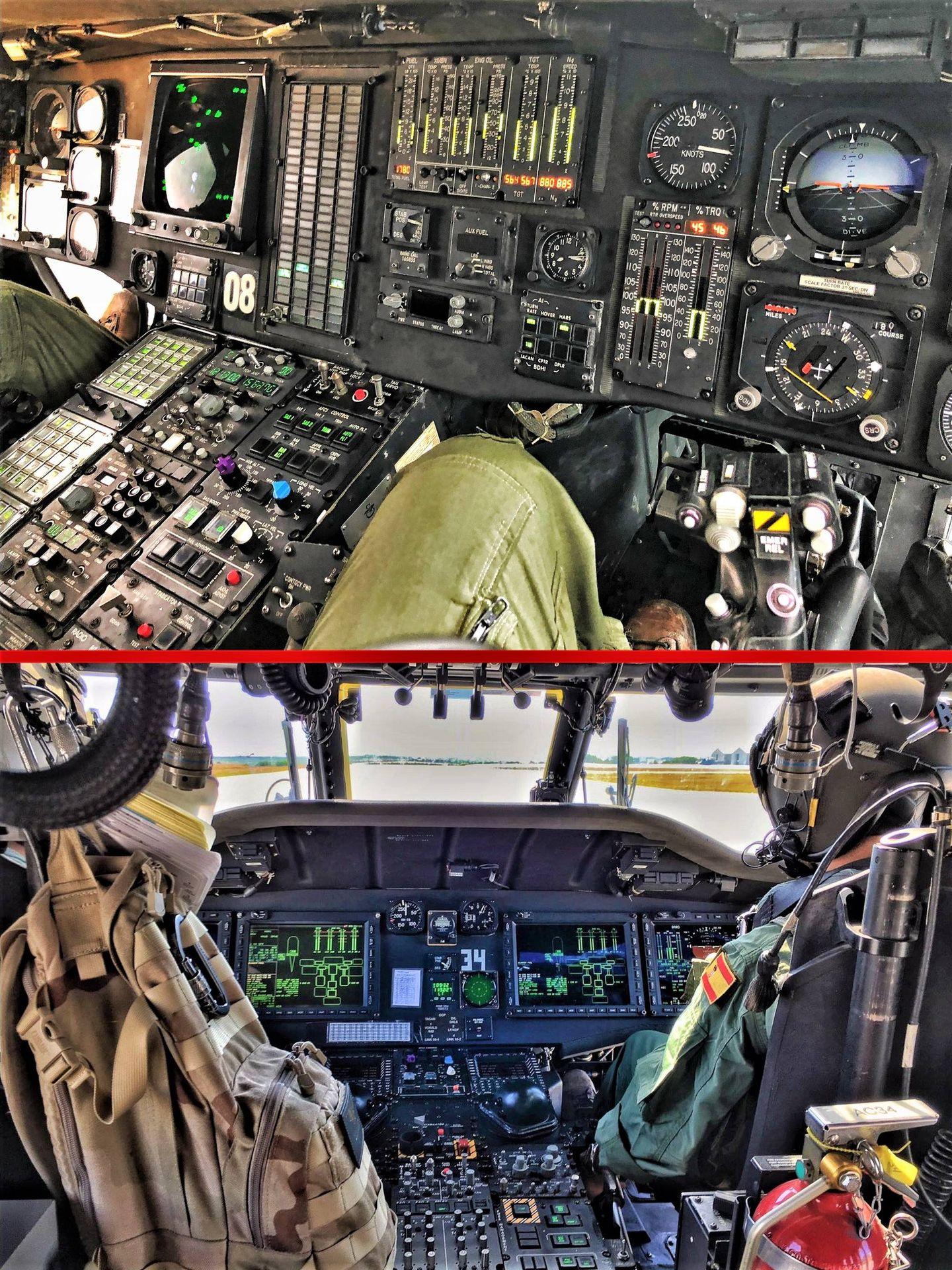 Diferencias notorias. Arriba cabina analógica de un SH-60B español. Abajo el glass cocpit de un MH-60R de la US Navy (Fotos Armada)