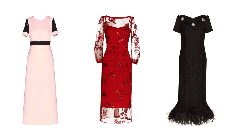 Tres vestidos de Varela que podrían colgar en el vestidor de Letizia. (Cortesía)