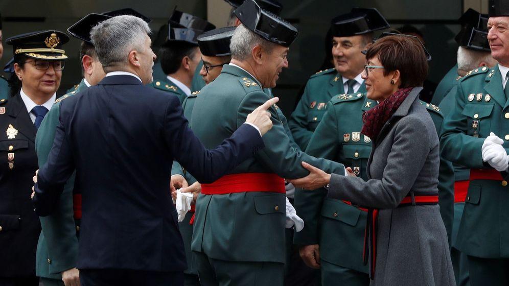 Foto: Marlaska, durante la toma de posesión de María Gámez como jefa de la Guardia Civil. (EFE)