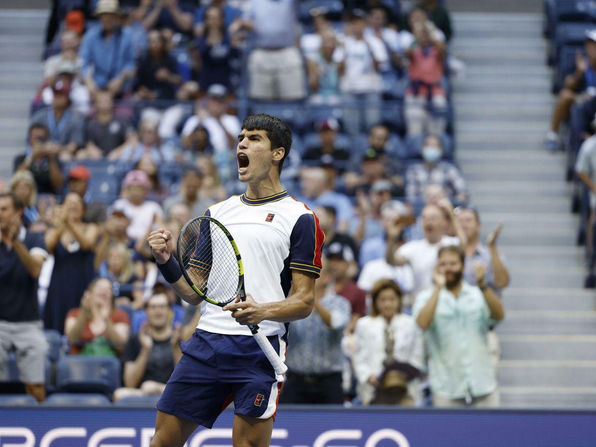 Foto: Alcaraz, durante el partido. (Reuters)