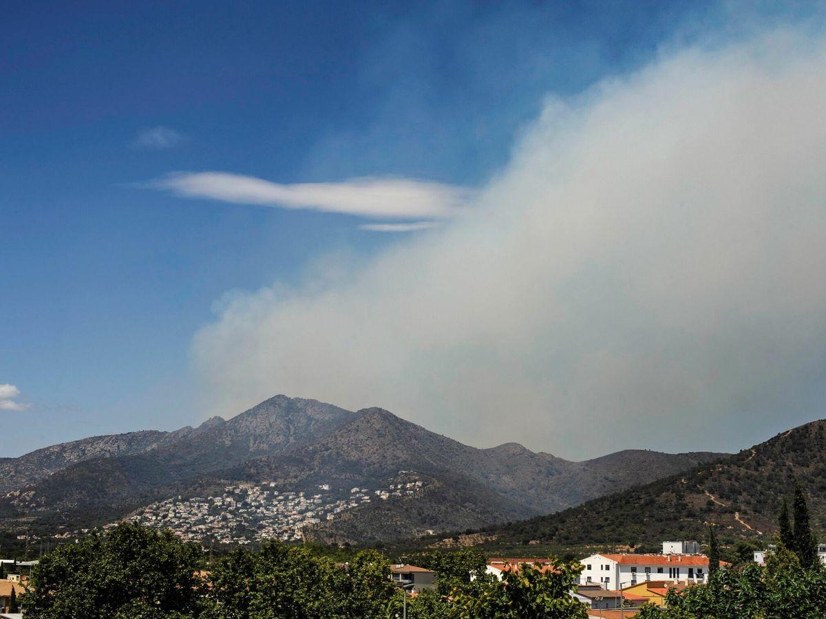 Foto: El incendio forestal que ha comenzado este mediodía en Llançà (Girona). (EFE)