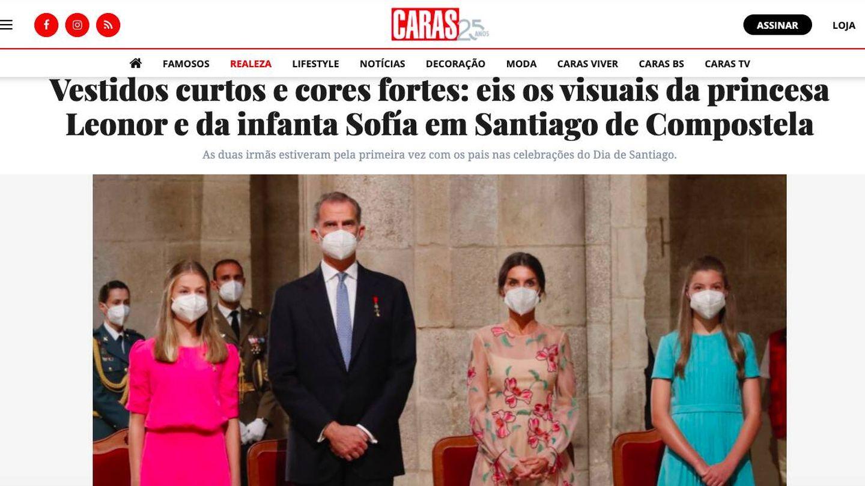Los looks de Leonor y Sofía, en la portuguesa 'Caras'.