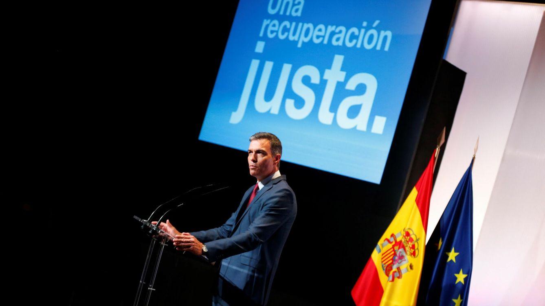 Foto: El presidente del Gobierno, Pedro Sánchez, esta mañana durante la conferencia de arranque del curso político. (EFE)