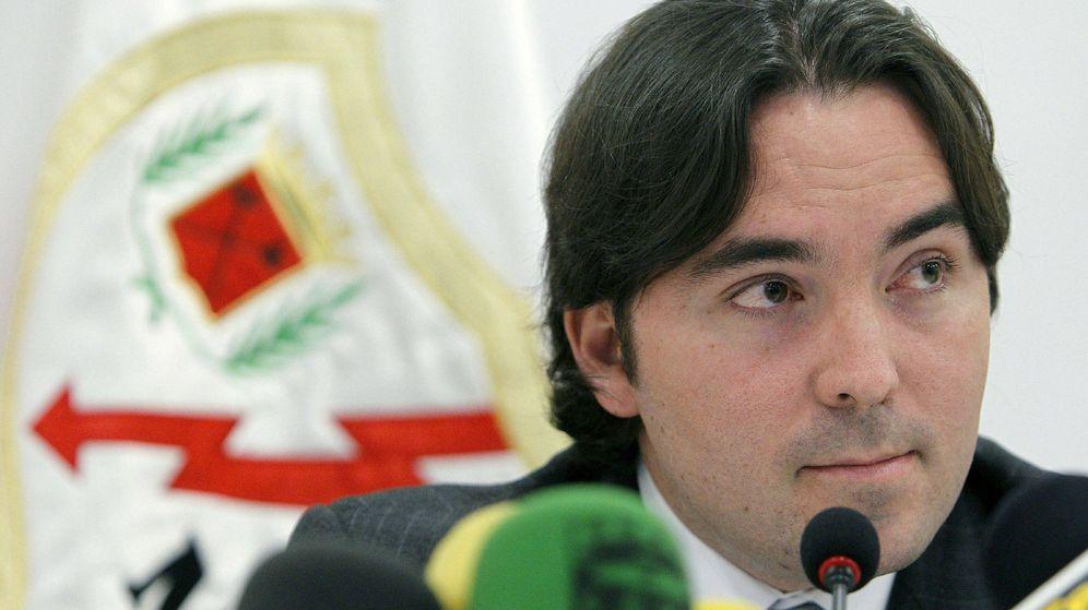 Foto: Raúl Martín Presa tras anunciar la compra del Rayo Vallecano. (Ballesteros/EFE)