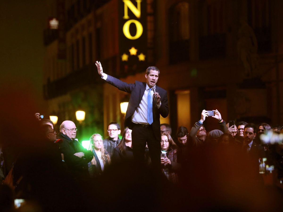 Foto: Juan Guaidó durante el encuentro celerbado en Madrid. (Reuters)