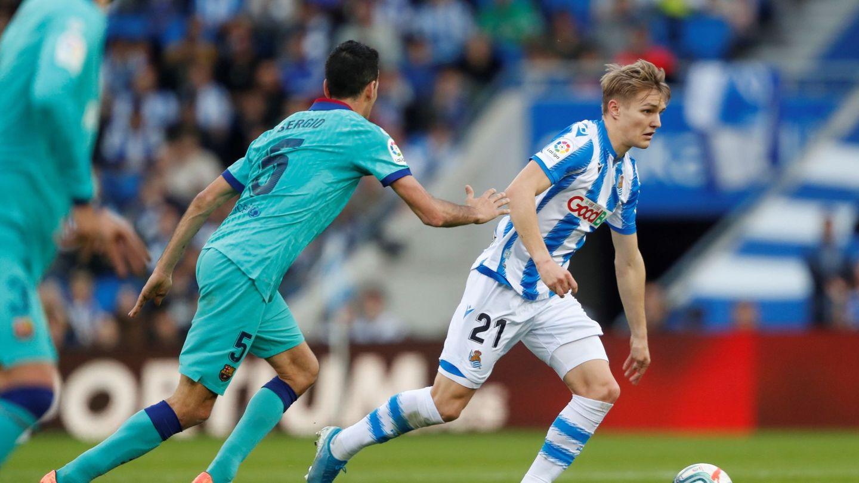 Martin Odegaard en el partido contra el Barcelona. (Efe)