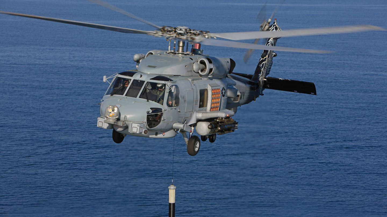 MH-60R con su sonar desplegado. (Foto: Lockheed Martin)