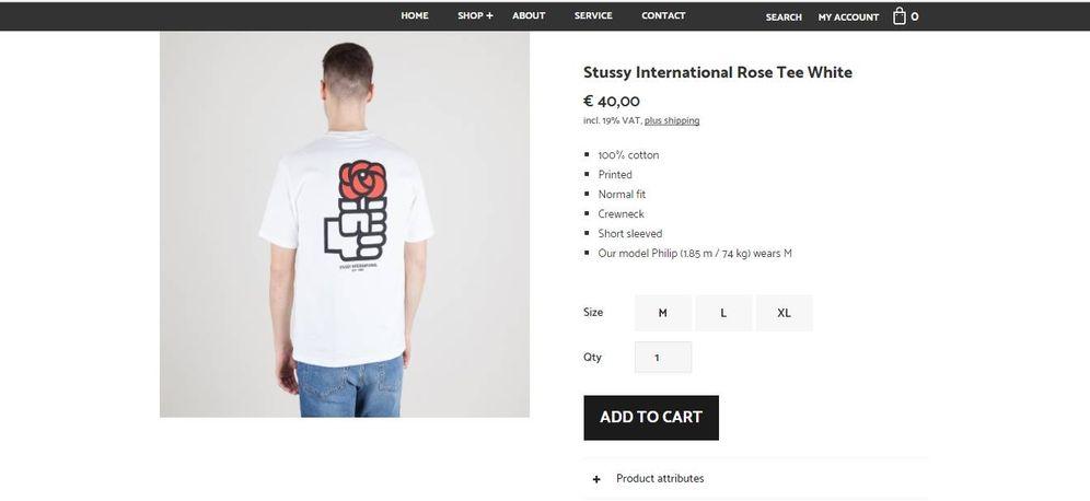 Foto: Camiseta blanca de la firma Stussy con el logo del PSOE de 1977 en la web de la tienda Uebervart. (EC)