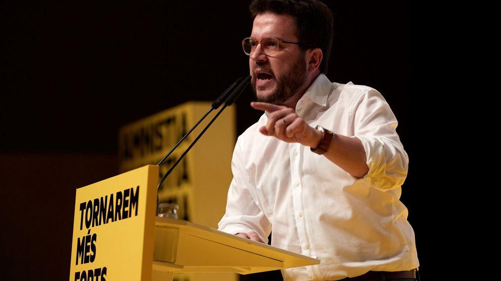 Foto: Pere Aragonès, durante el acto de fin de campaña de ERC. (EFE)