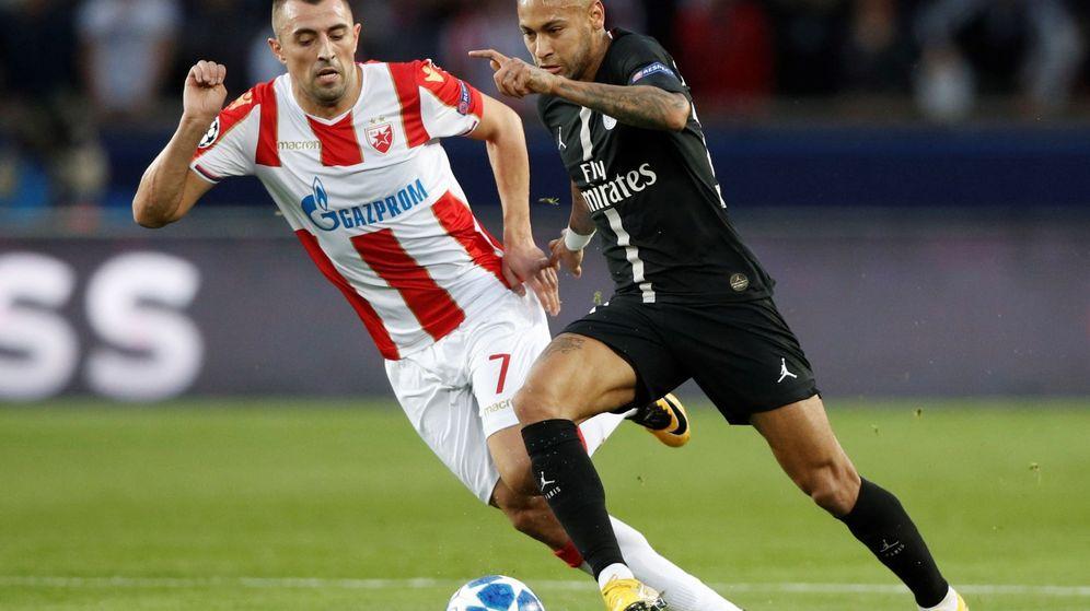 Foto: Neymar marcó tres de los seis goles del PSG al Estrella Roja. (EFE)