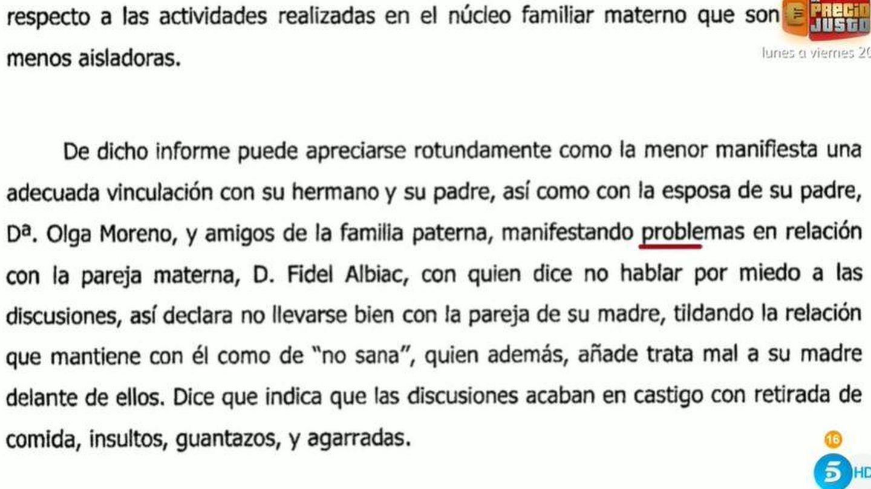 El informe psicológico. (Mediaset)