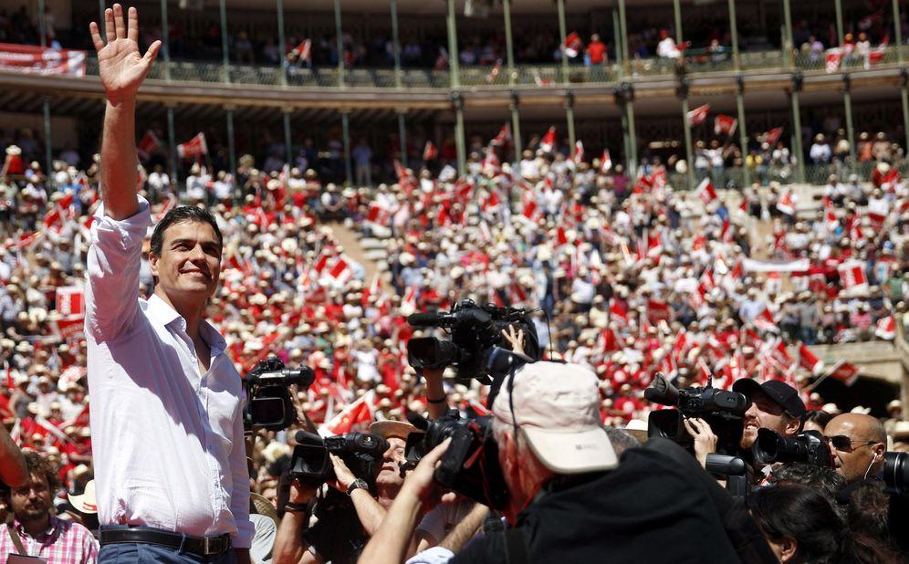 Foto: Pedro Sánchez, durante un mitin en Valencia en la campaña de las municipales y europeas, el 16 de mayo pasado. (EFE)