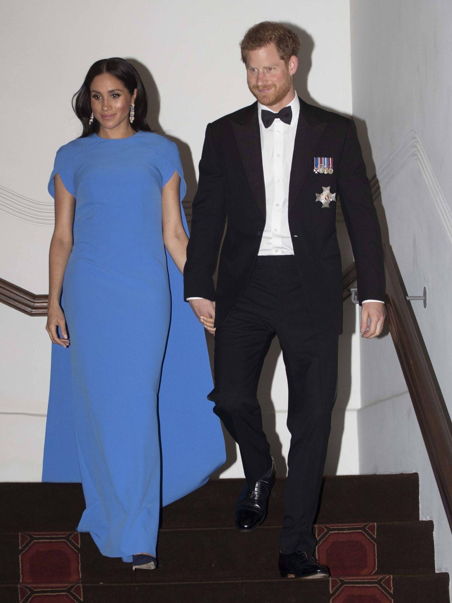 Meghan y Harry durante la recepción. (Getty)