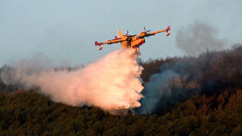 Medios aéreos se afanan en extinguir el fuego de La Granja de San Ildefonso (Segovia) que calcinó unas 370 ha. (EFE)