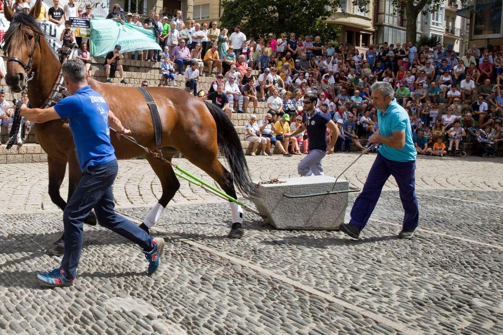 Foto: Exhibición de arrastre de piedra por caballos en Vitoria en las fiestas de La Blanca de este año entre la protesta de grupos animalistas. (EFE)