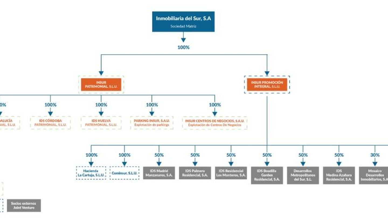 Estructura del grupo (en gris, sociedades con socios). (CNMV)