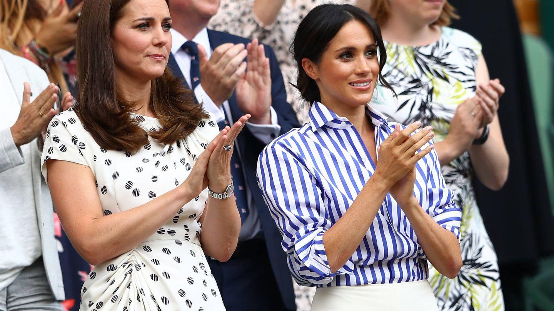 Kate Middleton y Meghan Markle, en Wimbledon. (Getty)