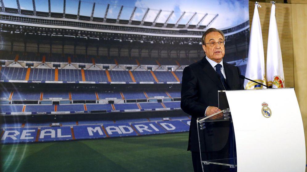 Foto: Florentino Pérez, en su comparecencia ante los medios. (EFE)