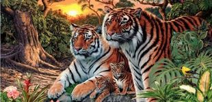 Post de El último acertijo visual: ¿cuántos tigres puedes ver en la imagen?