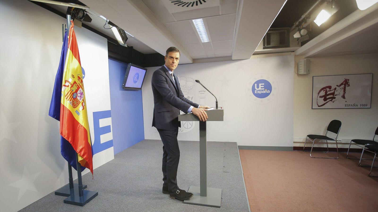 Foto: El presidente del Gobierno, Pedro Sánchez, en rueda de prensa tras concluir el Consejo Europeo extraordinario. (EFE)