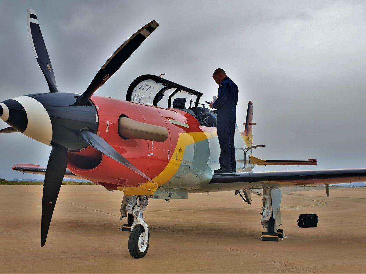 Foto: El nuevo PC-21 en la Academia General del Aire (J. Fernández)
