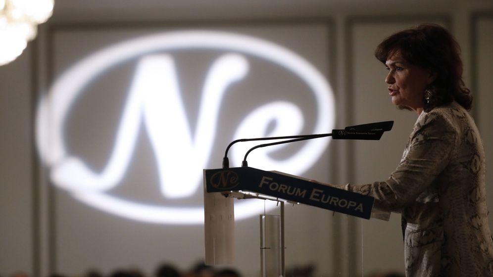 Foto: Carmen Calvo, este 30 de enero durante el desayuno informativo de Nueva Economía Fórum en el hotel Westin Palace de Madrid. (EFE)