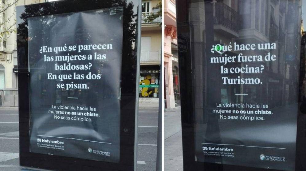 Foto: Dos de los carteles que ha colocado por la ciudad el Ayuntamiento de Zamora (Twitter)