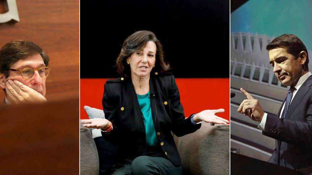 Foto: José Ignacio Goirigolzarri (i), Ana Botín (c) y Carlos Torres (d), presidentes de Bankia, Santander y BBVA, respectivamente. (EFE/EC)