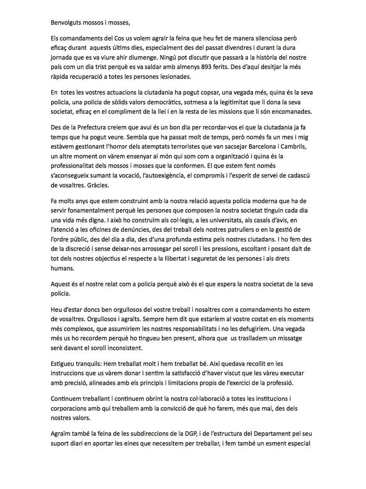 Pinche en la imagen para leer la carta completa enviada a los Mossos el 2 de octubre.