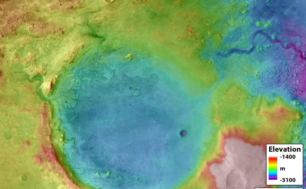 Foto: El cráter Jezero, en una de las fotografías realizadas por la NASA. (CC/NASA)