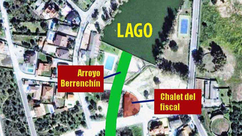 Imagen de satélite con la ubicación del chalet en el cauce del arroyo Berrenchín. (Acodap)