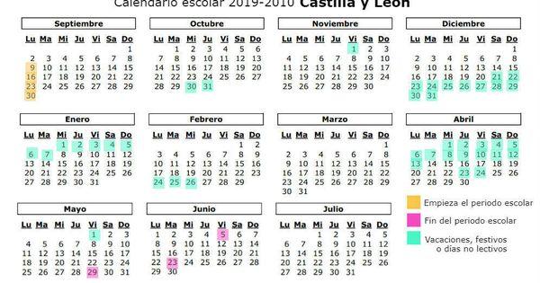 Calendario 2019 Castilla Y Leon.Calendario Escolar 2019 2020 Para Castilla Y Leon Vacaciones