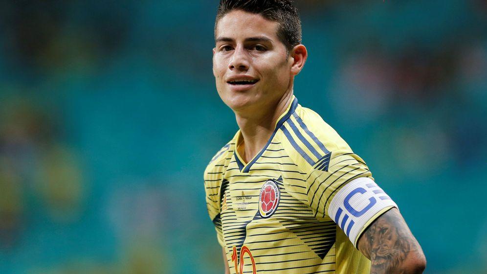 Foto: James, capitán de la Selección de Colombia, en un partido de la Copa América. (Efe)