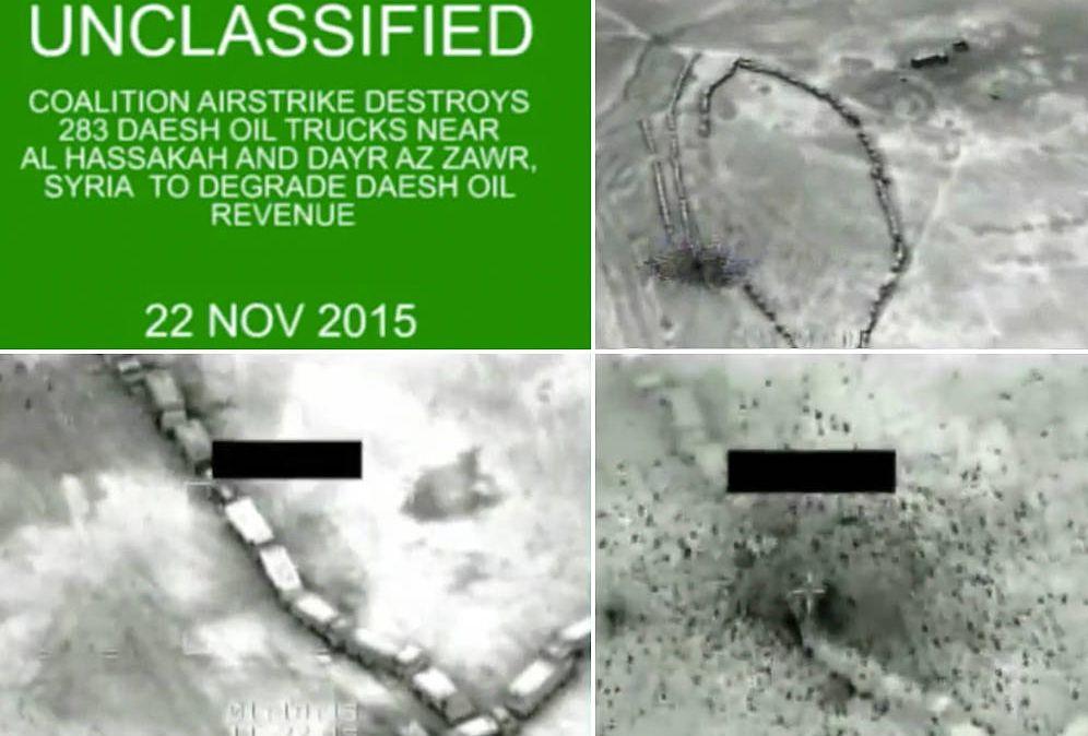 Foto:  Imágenes del vídeo en el que se observan los bombardeos con munición de uranio empobrecido.