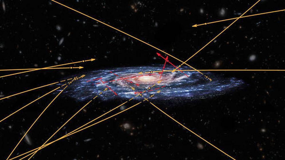Foto: Trayectoria de las estrellas de hipervelocidad en la Vía Láctea. (ESA/Marchetti ET)