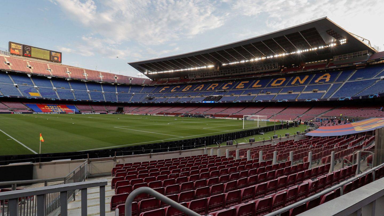 El estadio Camp Nou, vacío momentos antes del Barça-Nápoles en agosto de 2020. (EFE)