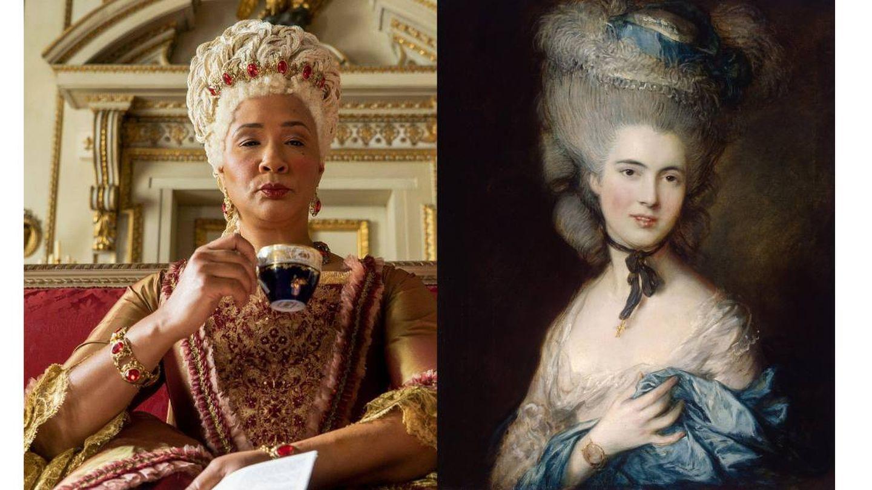La reina Charlotte y 'La dama de azul' de Thomas Gainsborough. (Netflix)