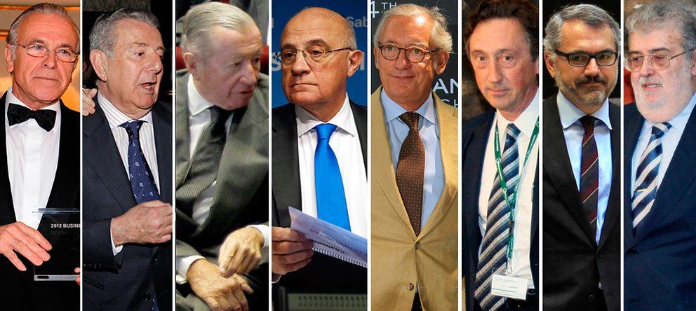 Foto: Fainé, Godó, Rodés, Oliu, Andic, Carulla, Puig y Lara.